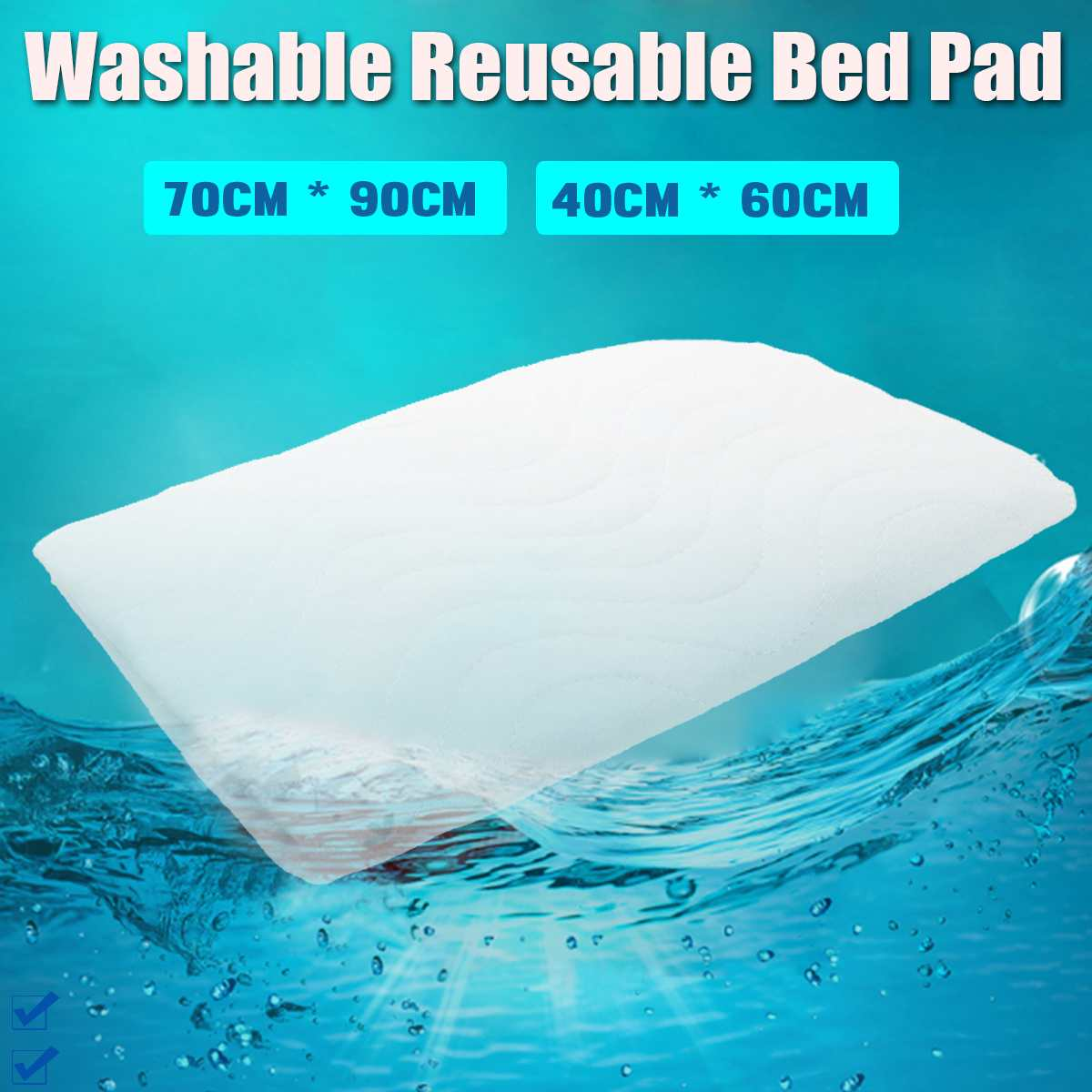 40x60cm/70x90cm Reusable Incontinence Bed Pad Washable Pad Absorbent Pad For Adults Incontinence Pad Baby Bedwetting