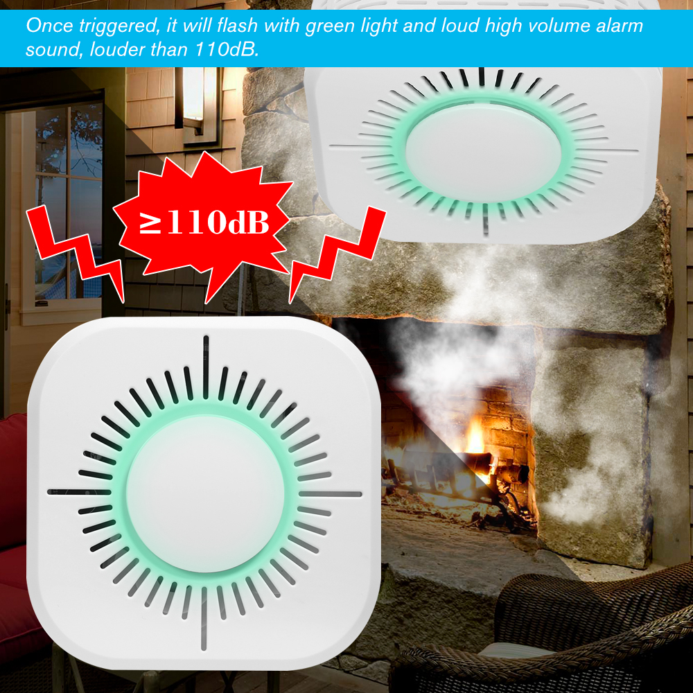 Standalone Photoelectric Smoke Alarm High Sensitive Wireless System Security Independent Smoke Detector Fire Protection Sensor soccer-specific stadium
