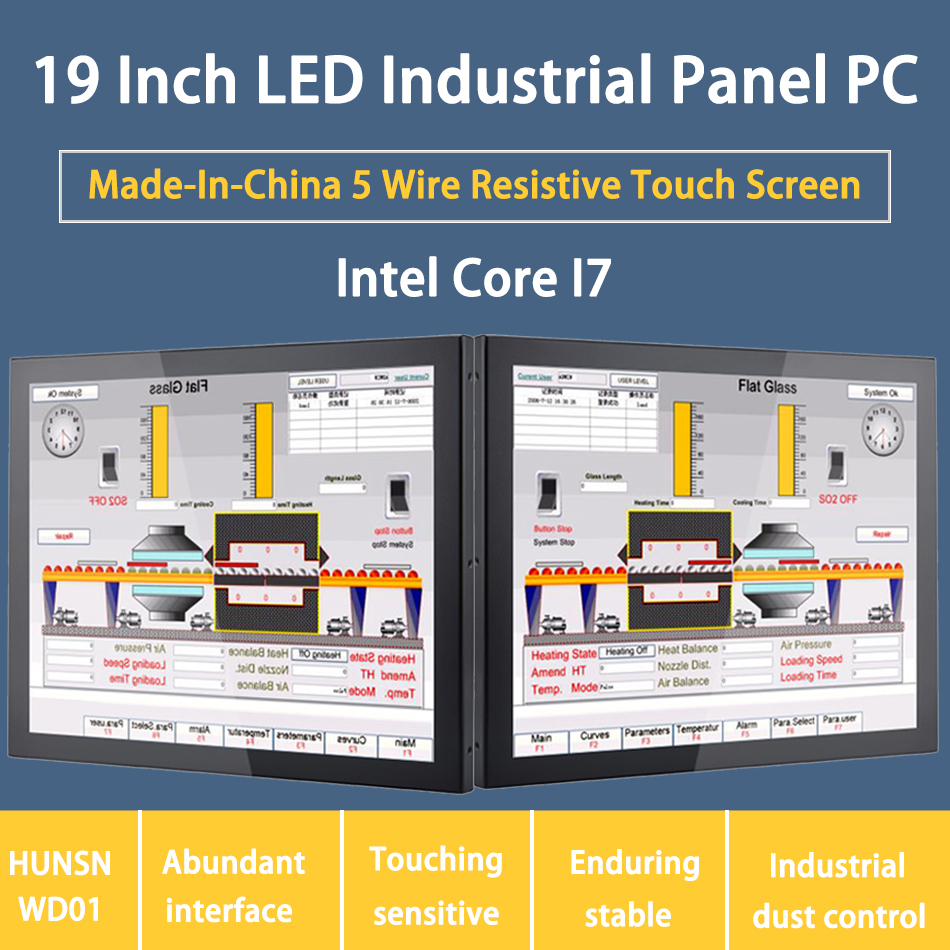 19 Inch LED Industrial Panel PC,Intel Core I7,5 Wire Resistive Touch Screen,Windows 7/10/Linux Ubuntu,[HUNSN DA02W]