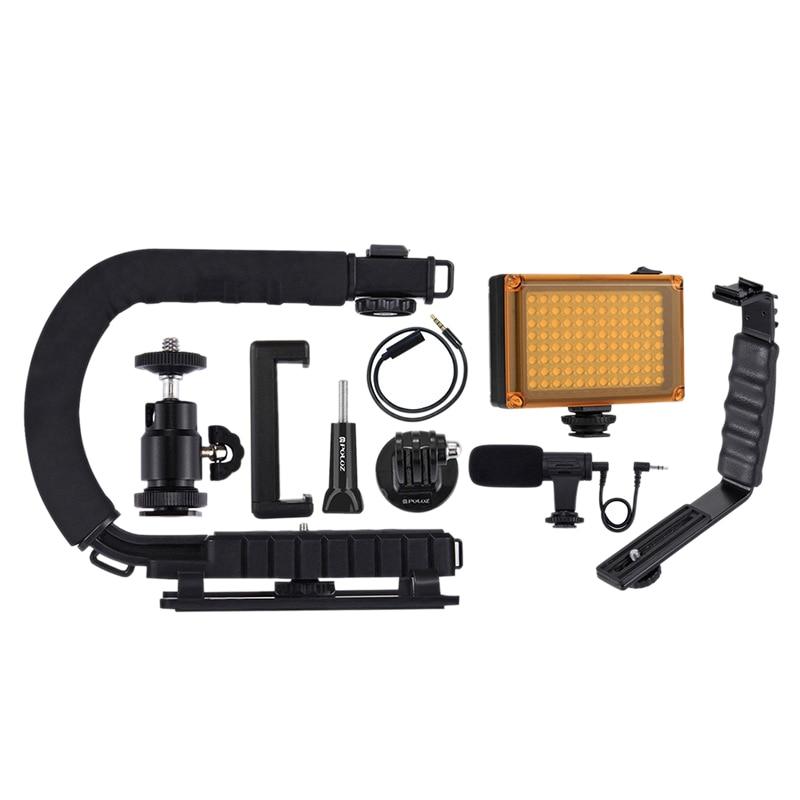 Puluz U/C forme Portable Dv support stabilisateur + Kit de Microphone vidéo avec chaussure froide tête de trépied pour tous les appareils photo reflex A