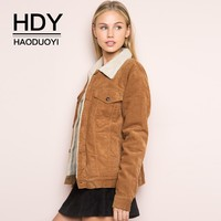 HDY Haoduoyi Winter Jacket Women Long Sleeve Turn down Collar Corduroy Coat Women Single Breasted Autumn Fashion coat outwear