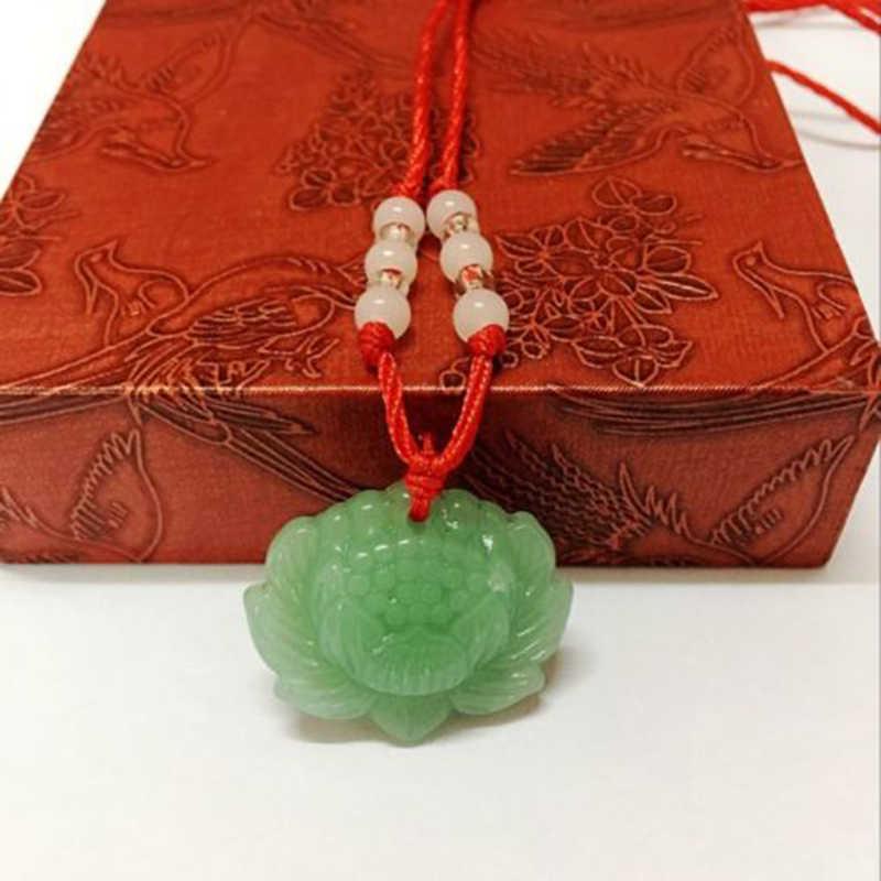 1 sztuka zielony naszyjnik wisiorek naszyjnik szczęście moda urok lotosu wisiorek mężczyzna wisiorek naturalne kobiece