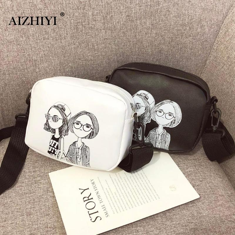 Women Cartoon Printing Small Square Wild Shoulder Bags Personality PU Leather Messenger Bag Female Crossbody Satchel Bags Bolsos