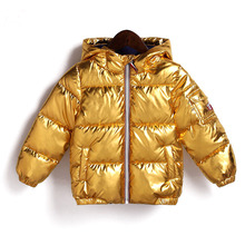 Children Winter Jacket for Boys Girls Silver Gold Casual Hooded Coat Baby Warm Clothing Outwear Kids Parka Jacket Space Suit new 2014 autumn winter children outwear baby clothing kids jackets fashion girls polka dot down coat casual jacket child parka
