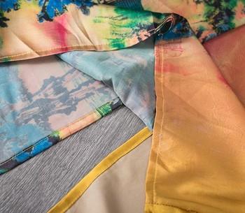 CHICEVER Summer Vintage Print Women Dress Cross V Neck Half Sleeve Patchwork Pockets Split Hem Loose Slim Female Dresses 2020 5
