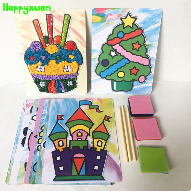 Happyxuan 8 디자인 세트 아이들을위한 Diy 3d 종이 공예 키트 유치원 교육 재료 유치원 어린이 크리 에이 티브 장난감 소녀