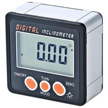 Цифровой Инклинометр 0-360 Угол треугольная линейка электронный транспортир Алюминий корпус из металлического сплава ящик измеритель углов магнитное основание