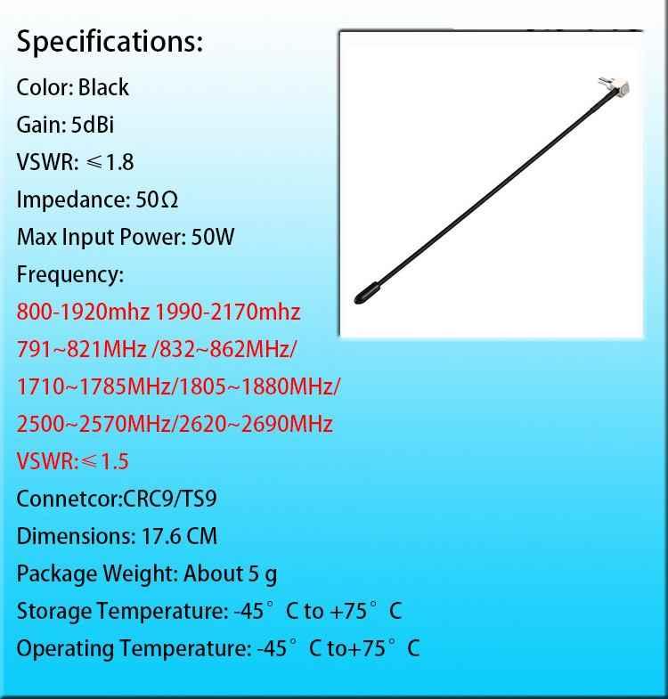 LEORY 2 pcs 4G LTE هوائي مع TS9 أو CRC9 موصل لهواوي E398 E5372 E589 E392 Zte MF61 MF62 aircard 753 s 5dbi مكاسب