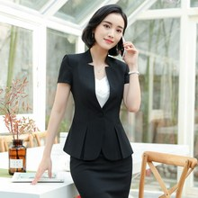 Office Lady Classic Short Sleeve Suit Casual Summer Business Blazer+Bodycon Skirt Feminino Officewear Formal Suits Work Wear