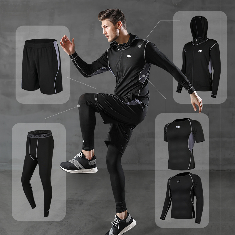 5Pcs/Lot Tights Sports Men's Compression Sportswear Suits Running Clothes Suits Workout Jogging Sports Clothing Tracksuit Dry