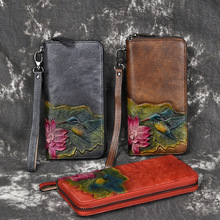 2019 New Flowers Manual Retro Long Women Wallets Zipper Wallet Leather Genuine Cow Leather Female Purse Ethnic Style Clutch Bag hot sell new thick purse fashion women zipper wallet wristlet bag with serpentine genuine cow leather