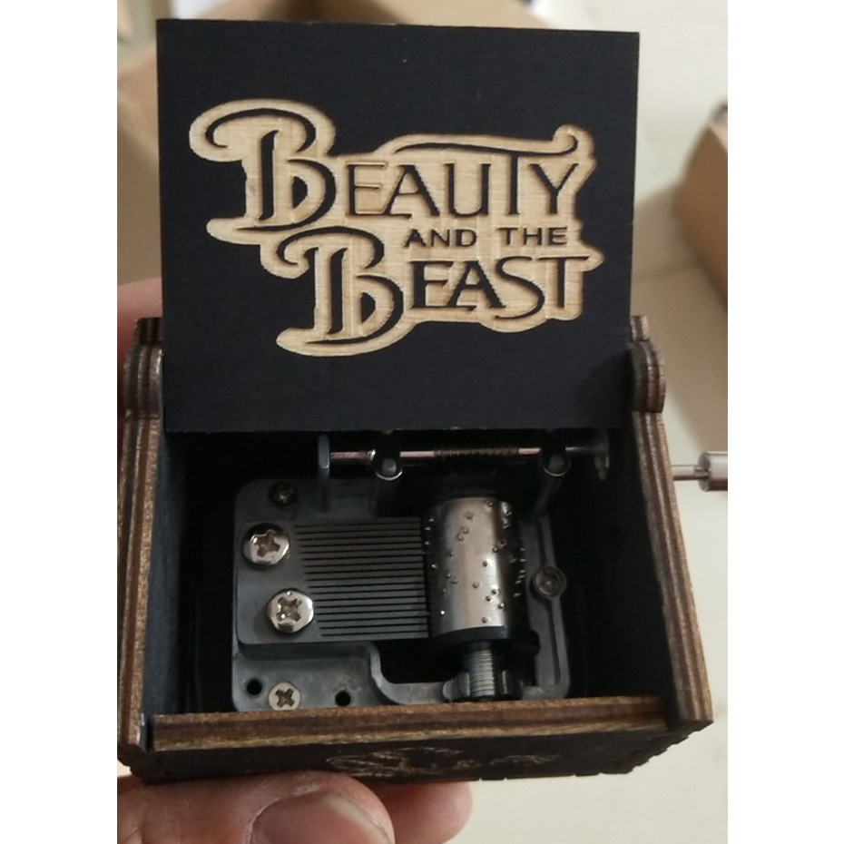 New Black Wood Beauty The Beast Hand Crank Music Box Game Of Throne StarWars Can't Help Falling In Love Christmas BirthdayGifts image