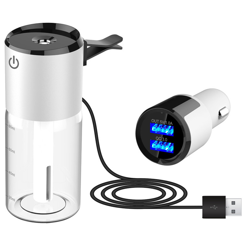 Accesorios portátiles para el coche humidificador de aire eléctrico para el coche cargador Dual USB humidificador purificador de aire para el coche atomizador de aire automático aromaterapia