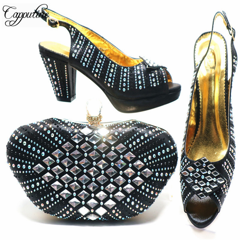 Wholesale Price African Style Black Color Ladies Shoes And Bag Set Most Popular High Heels Shoes And Bag Set For Party G68Wholesale Price African Style Black Color Ladies Shoes And Bag Set Most Popular High Heels Shoes And Bag Set For Party G68