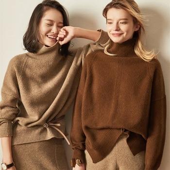 Женские кашемировые шерстяные свитеры, Повседневные пуловеры с высоким воротником, однотонные вязаные Джемперы для весны и осени, 2018
