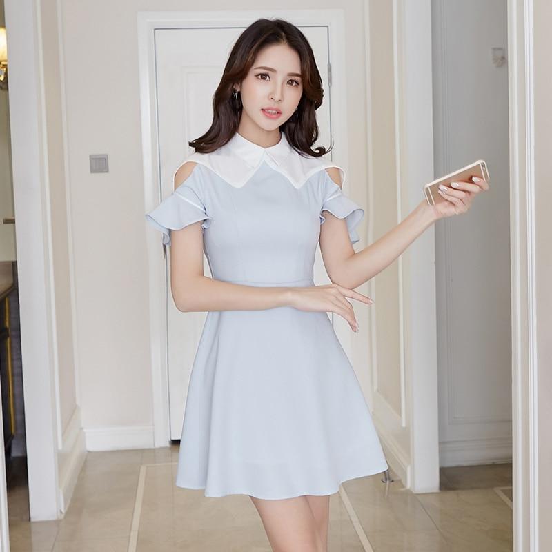 Debowa robe en mousseline de soie pour adolescentes femmes 2018 nouvelles robes d'été à manches courtes col carré moulante femmes robe a-ligne robe Vintage