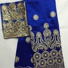 Синий африканский Джордж кружевной ткани Шелковое кружево высокого качества вышивка с блестками 5 ярдов+ 2 ярдов французский тюль кружева для платья