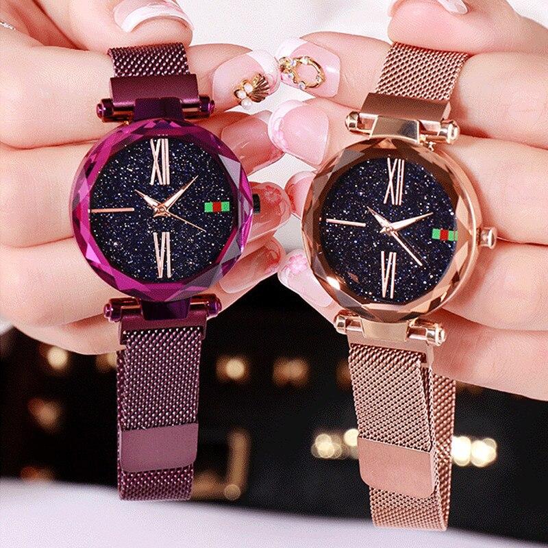 Luxus Rose Gold Frauen Uhren Minimalismus Starry sky Magnet Schnalle Mode Lässig Weiblichen Armbanduhr Wasserdicht Römischen Ziffer