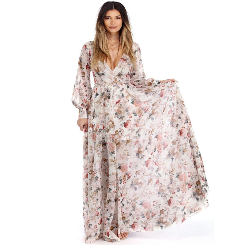 4e21f07e11 Kobiety Boho Floral długa sukienka Hawiian wieczór Party lato plaża Casual długa  sukienka Sundress