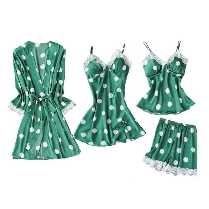 2019 Women Pajamas Sets 4 Pieces Satin Sleepwear Pijama Silk Home Wear Lace Chest Pads Spaghetti Strap Sleep Lounge Pyjama