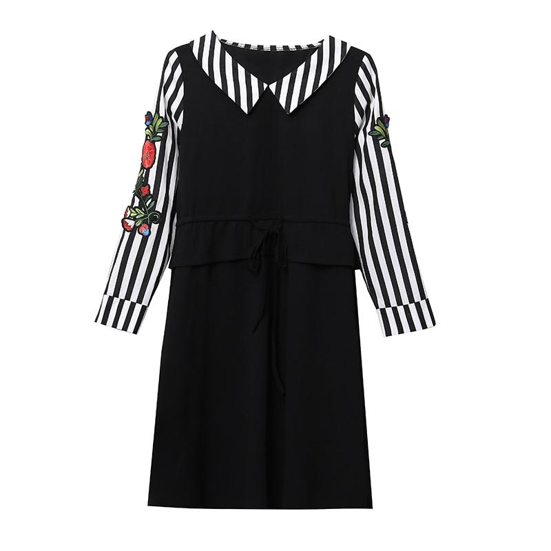 Élégant D'été 2019 Black Florale Misslymi 5xl Coréen Femmes Grande A Bikinis Robes Rayé Xl line Arc Broderie Patchwork Taille UOU78v