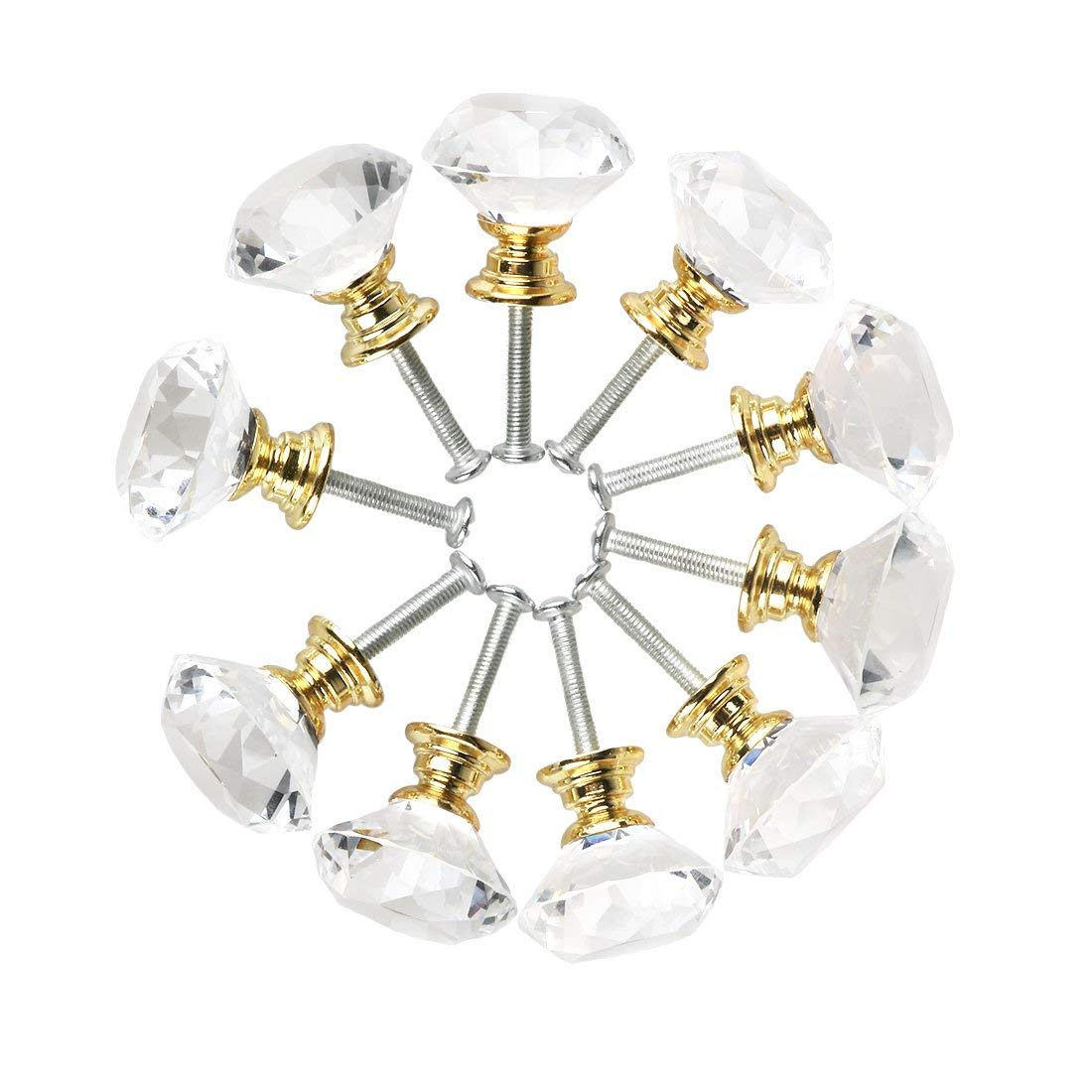 10pcs Diamond Shape Crystal Glass Kitchen Cabinet Door