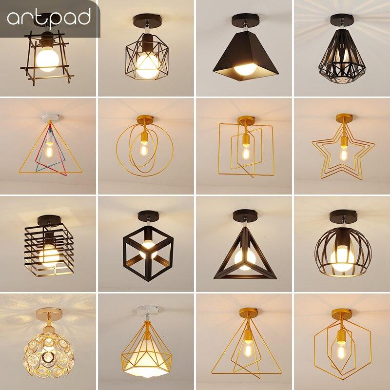 Artpad Vintage Ceiling Lights Black White Golden Loft Led Ceiling Lamp Geometric Shape Iron Cage Living Room Bedroom Home Led