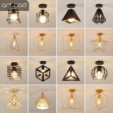 Artpad Vintage Ceiling Lights Black White Golden Loft Led Lamp Geometric Shape Iron Cage Living Room Bedroom Home