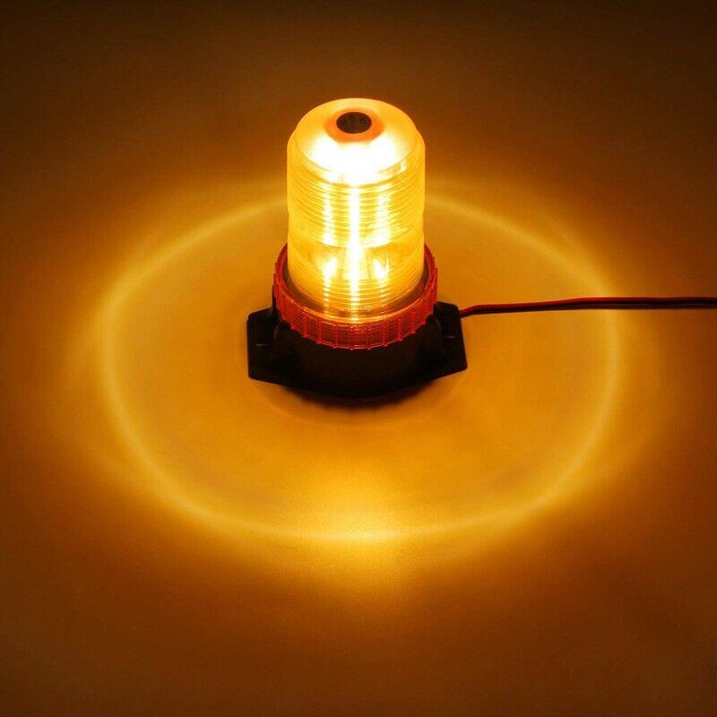 32 LED Amber Magnetic Beacon Light Emergency Warning Strobe Yellow Roof Round