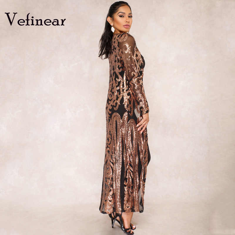 e777eddd9fd ... Vefinear New Paillette Perspective Cardigan Autumn Bling Sequined Full  Long Maxi Dress Night Party Club Reflective ...