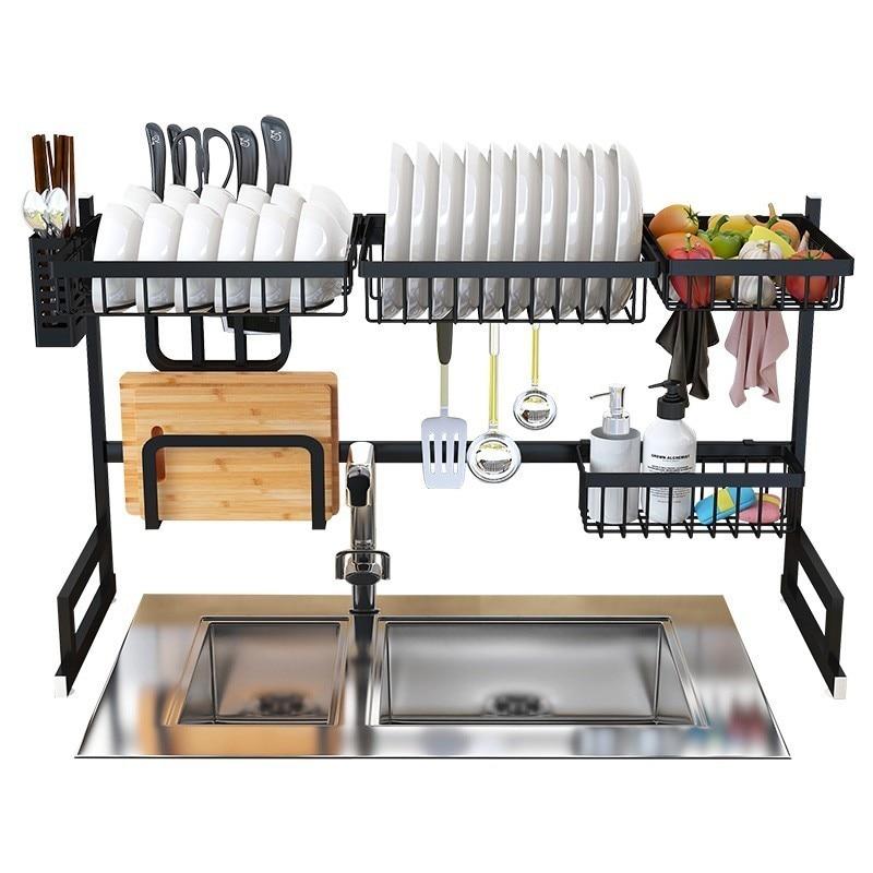 Stainless Steel Kitchen Sink Rack Dish Organizer Utensils Storage Supplies