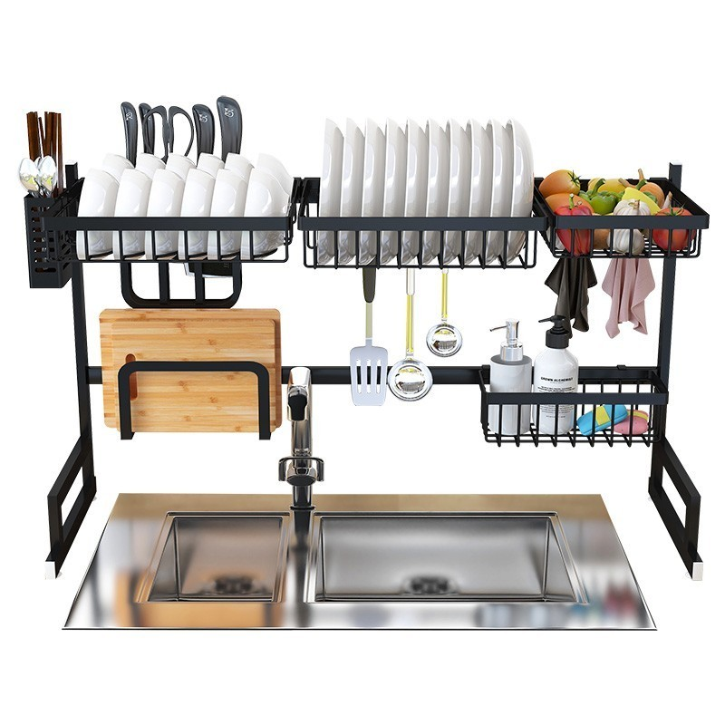 Kitchen:  Stainless Steel Kitchen Sink Rack Dish Organizer Utensils Storage Supplies - Martin's & Co