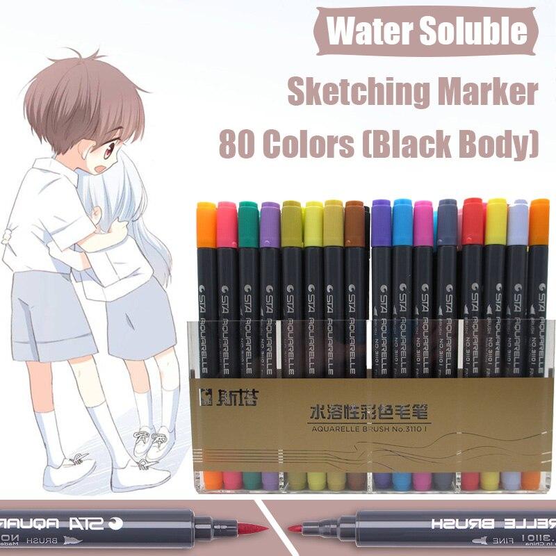 STA 80 couleurs noir Double tête Art marqueurs artiste hydrosoluble croquis marqueur pinceau stylo pour dessin Design bureau Art fournitures