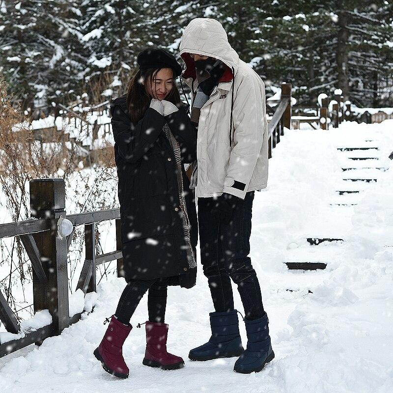 Осенне зимняя мужская теплая обувь с хлопковой подкладкой; Уличная обувь из хлопка для прогулок; высокие непромокаемые зимние ботинки - 5