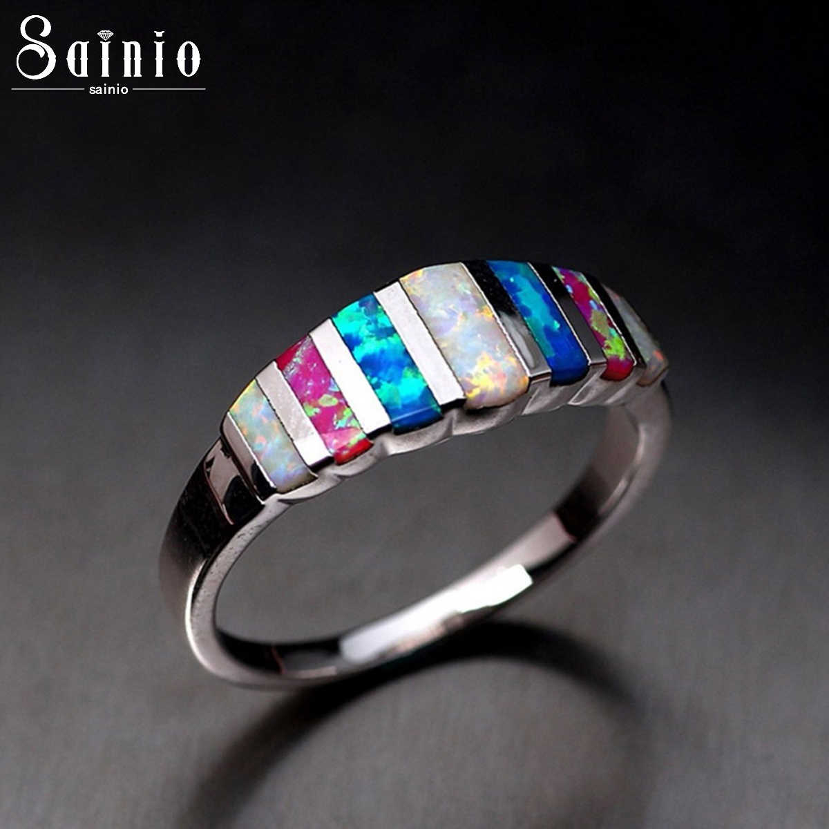 Luxury Rainbow Mixed Color Stones Crystal Finger Ring For Women Multi-color Natural Stone Ring Wedding Engagement Jewelry