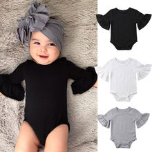 3 Color Newborn Infant Baby Girl Clothes Flared Sleeve Rompe
