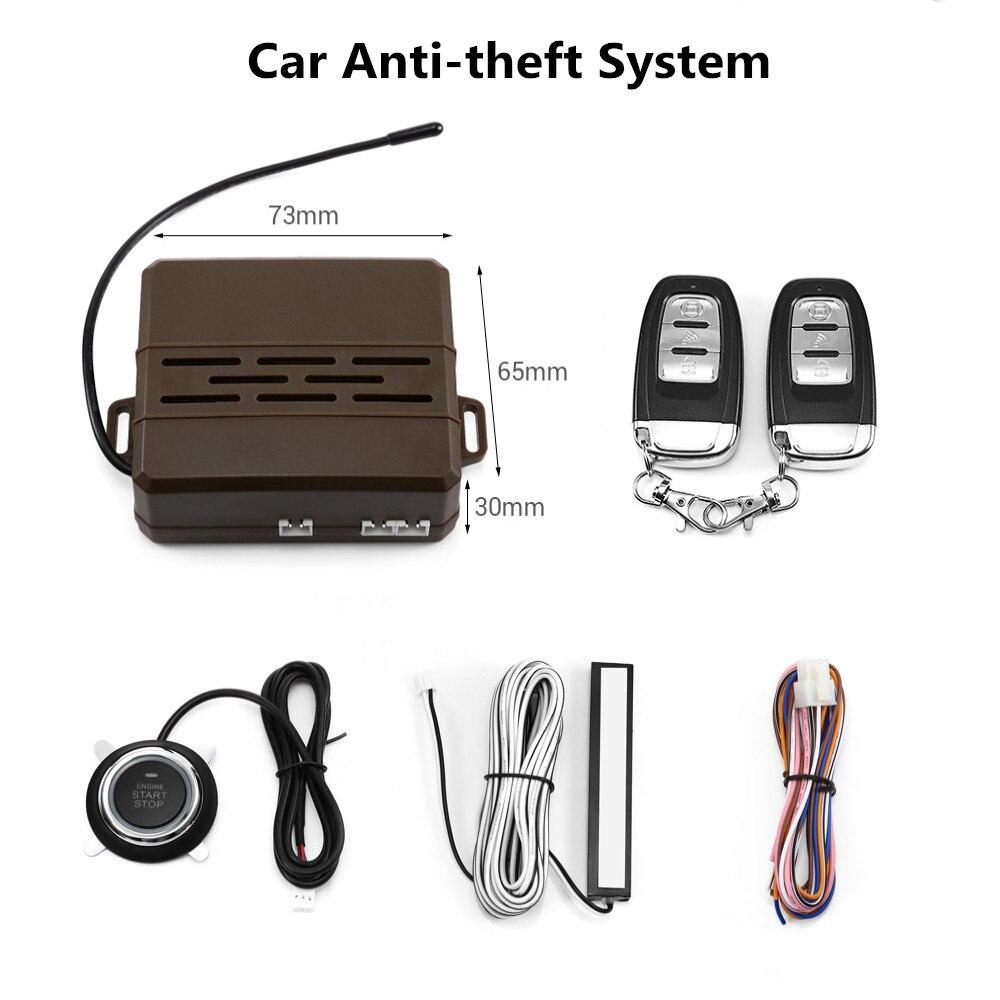 Alarme de voiture universelle 12 V télécommande sans clé système antivol bouton poussoir une clé de démarrage alarme antivol