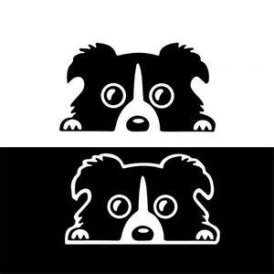 Image 3 - Professional 1pc New 14*8CM Border Collie DOG Personality Reflective Glass Rear Pet Car Sticker Black White