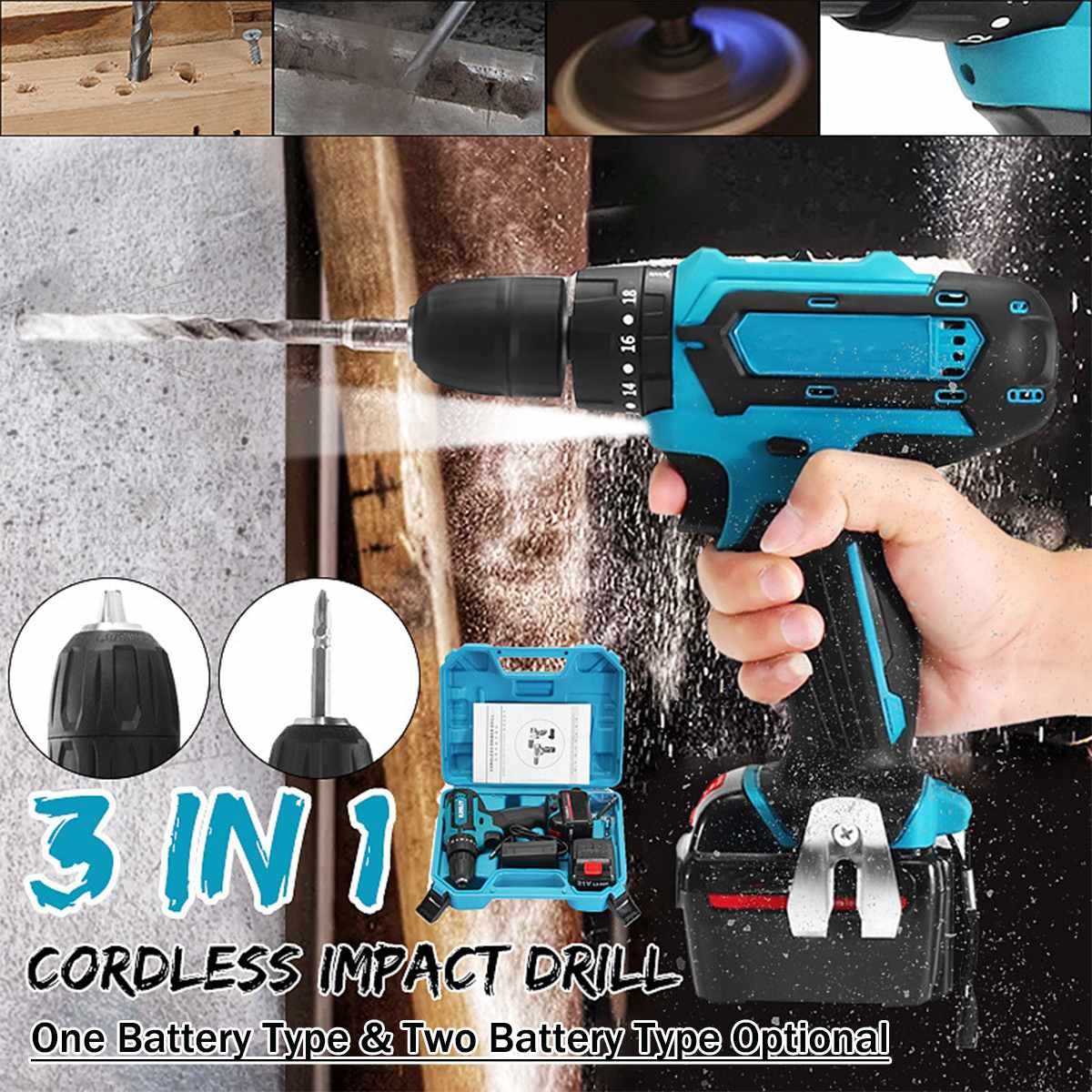 12V 21V 1 2battery Max Electric Screwdriver Cordless Drill Mini Wireless Power Driver DC Lithium Ion