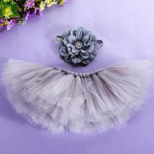 Newborn Baby Photography Props Clothes Handmade Big Flower Headband + Mini Skirt Photo Clothing