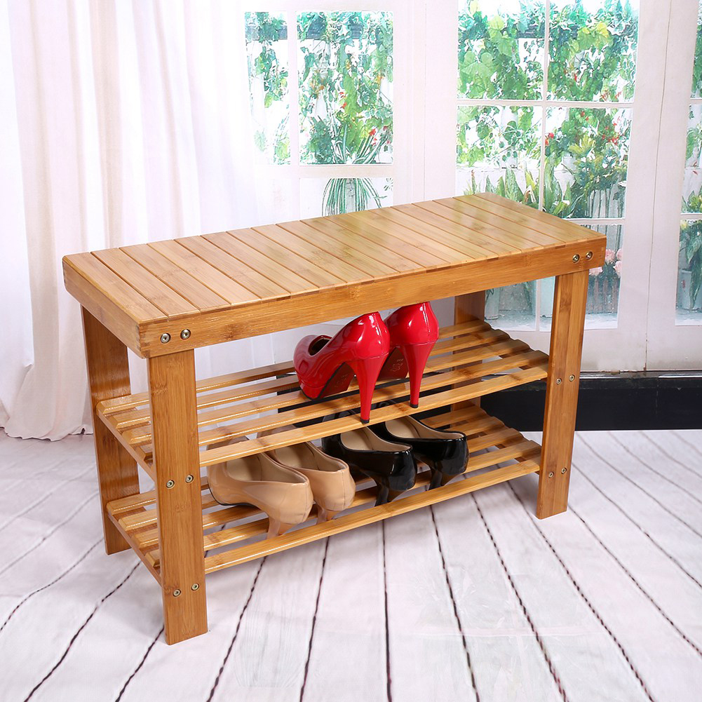 2 Tier Modern Bamboo Shoe Cabinets Multi Function Shoe Rack Storage Organiser Bench Shelf Stand