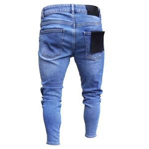 Image 2 - Yeni Moda Streetwear Erkek Kot Vintage Mavi Ince Yırtık Kot Kırık Serseri Pantolon Homme Hip Hop Kot Erkek Pantolon