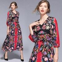 7af1f3059b 2019 Designer Runway Dress Summer Women Long Sleeve V Neck Red Black  Vintage Print Elegant Dress