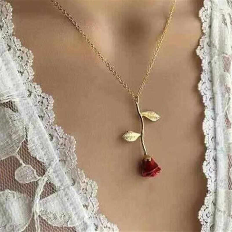 Trendy Red Rose Pendant Necklace Women Jewelry Choker Necklace Chain Women Collier Femme Boho Necklaces Collar Gold Women Gifts