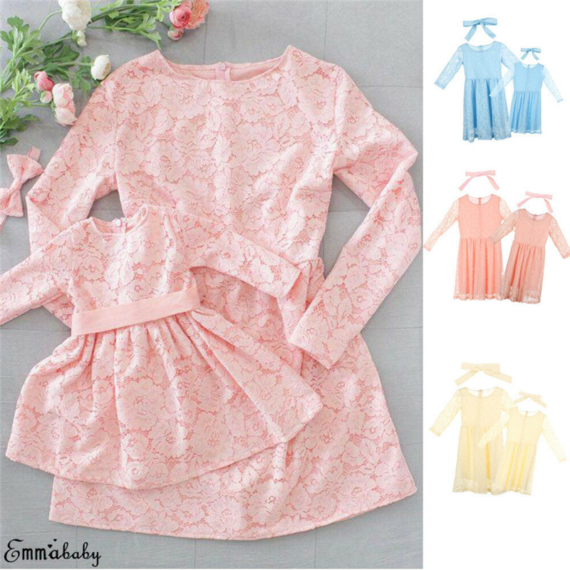 Family Matching Dress Outfits Long-Sleeves Daughter Baby-Girl Kids Elegant Lace Floral