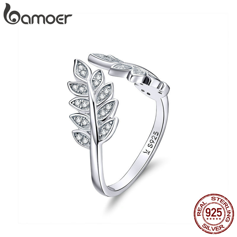 BAMOER Fashion Jewelry Leaf Open Finger Rings For Women 925 Sterling Silver Statement Enagement Jewellery Accessories SCR505