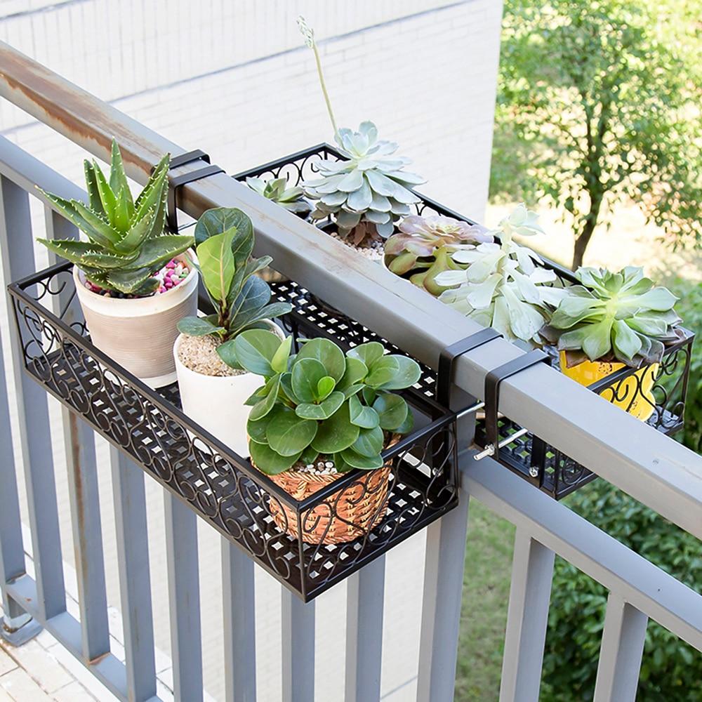 Storage Basket Holder Flower Pot Stand Rack Deck Rail ...