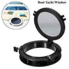 25cm 10 inch Boat Yacht Round Opening Portlight Window Black Replacement Porthole Window Hatch Touring Car Round Shape Porthole