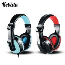 Kebidu, auriculares estéreo con cable con micrófono, auriculares de música de gama completa para videojuegos, auriculares universales de PC de 3,5mm para teléfono móvil