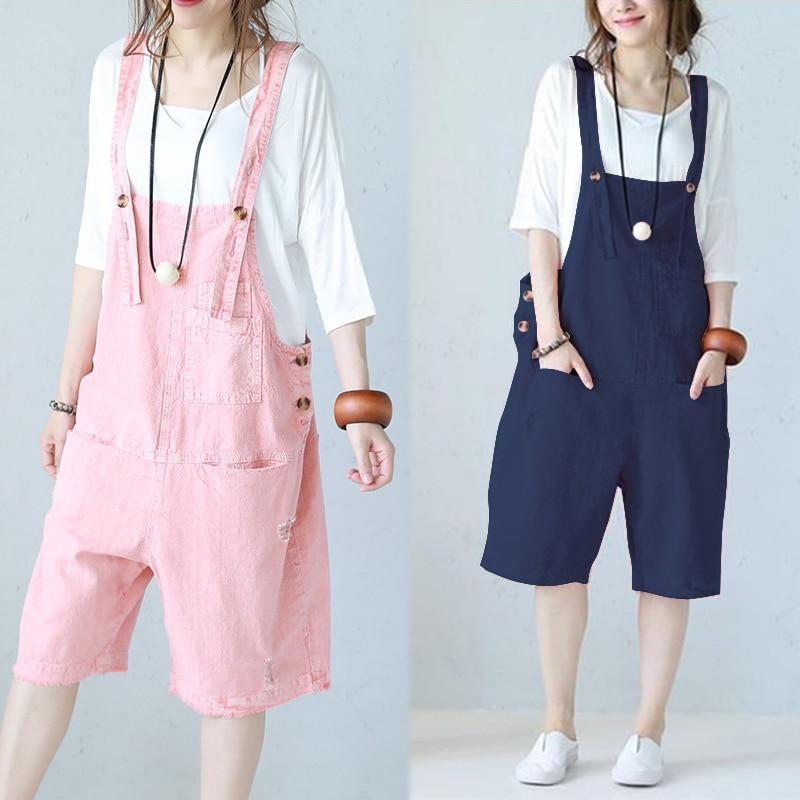 Linen Overalls   Jumpsuits   ZANZEA 2019 Women's Pants Strap Rompers Vintage Combinaison Femme Playsuits Summer Pantalon Plus Size